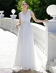 cheap -Sheath / Column V-neck Sweep / Brush Train Chiffon Wedding Dress with Appliques Crystal Detailing by LAN TING BRIDE®
