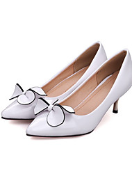 Women's Shoes PU Summer Fall Comfort Novelty Heels Stiletto Heel Peep Toe Bowknot For Wedding Party & Evening Red Black White