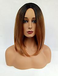cheap -Women Synthetic Wig Capless Medium Straight Black/Medium Auburn Ombre Hair Dark Roots Middle Part Bob Haircut Natural Wigs Costume Wig