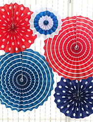 cheap -6Pcs/Set  Colorful Handcraft Paper Fan Rosettes Folding Honeycomb Fan Flower Home Wedding Backdrop Decor Birthday Party Supplies