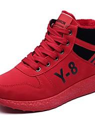 Недорогие -Жен. Обувь Полиуретан Весна Осень Удобная обувь Кеды На плоской подошве Круглый носок Шнуровка для Повседневные Черный Серый Красный