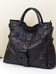 Women Bags All Seasons Sheepskin Tote Buttons for Casual Office & Career Black