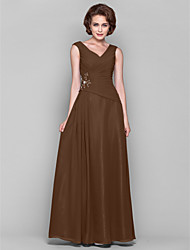 cheap -A-Line V Neck Floor Length Chiffon Mother of the Bride Dress with Beading Appliques Draping Criss Cross by LAN TING BRIDE®