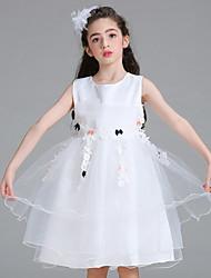 economico -principessa abito ragazza fiore lunghezza ginocchio - tulle cotone collo di gioiello sleeveless da bflower