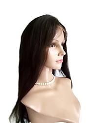 Women Human Hair Lace Wig Brazilian Human Hair Lace Front 130% Density Yaki Wig Dark Brown Black Long