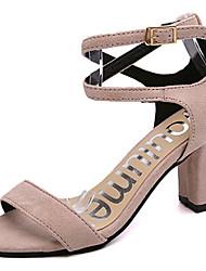 Damen Schuhe PU Sommer Komfort Sandalen Niedriger Absatz Runde Zehe Kombination Für Normal Schwarz Beige Armeegrün