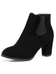 Damen Schuhe Kunstleder Herbst Winter Komfort Stiefel Blockabsatz Runde Zehe Booties / Stiefeletten Für Kleid Party & Festivität Schwarz