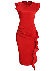 cheap -Women's Work Bodycon Sheath Dress - Solid Colored Red, Ruffle Ruched