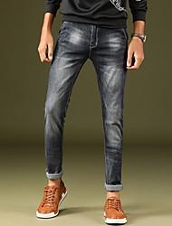 Men's Mid Rise Micro-elastic Skinny Jeans PantsSimple Slim Solid DC-9001