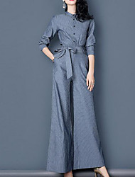 cheap -Women's Daily Casual Fall Blouse Pant Suits,Solid Shirt Collar Long Sleeve Others Inelastic