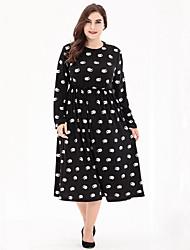 cheap -Women's Daily Plus Size Street chic Swing Dress,Polka Dot Print Round Neck Midi Long Sleeves Polyester Fall High Rise Micro-elastic Medium