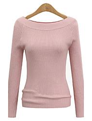Standard Pullover Da donna-Per eventi Casual Tinta unita Rotonda Manica lunga Poliestere Autunno Inverno Medio spessore Media elasticità
