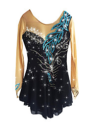 Figure Skating Dress Women's Girls' Ice Skating Dress Black Spandex Rhinestone High Elasticity Performance Skating Wear Handmade Long