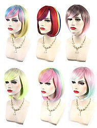 cheap -Women Synthetic Wigs Capless Short Wavy Yellow Pink fluorescent green Watermelon Red Black/Pink Side Part Highlighted/Balayage Hair Bob