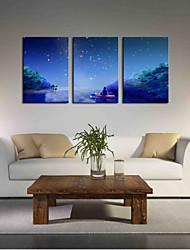 Peint à la main Voyage Artistique Inspiré de la nature Anniversaire Moderne/Contemporain Bureau / Affaires Noël Nouvel An Trois Panneaux