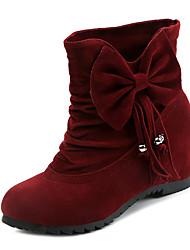 baratos -Mulheres Sapatos Tecido Outono / Inverno Conforto Botas Sem Salto Botas Curtas / Ankle Laço Preto / Amarelo / Vinho
