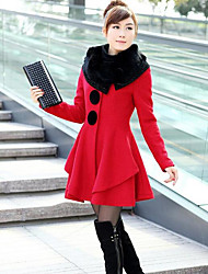 Women's Casual/Daily Simple Winter Fur Coat,Solid Shawl Lapel Long Sleeve Long Cotton