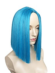 cheap -Synthetic Wig Straight Layered Haircut Synthetic Hair Side Part Blue Wig Women's Short Capless