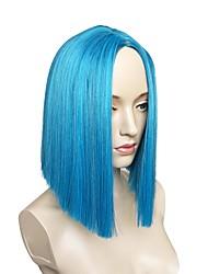 abordables -Pelucas sintéticas Recto Corte a capas Pelo sintético Parte lateral Azul Peluca Mujer Corta Sin Tapa