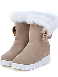cheap -Women's Shoes Suede Fall Winter Comfort Novelty Snow Boots Fashion Boots Boots Flat Heel Round Toe Mid-Calf Boots Feather Bowknot For