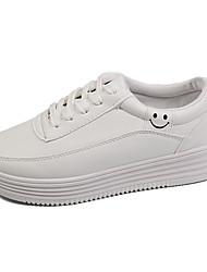 Femme Chaussures d'Athlétisme Confort Printemps Polyuréthane Marche Lacet Talon Plat Blanc Vert/Blanc Rose et blanc Plat