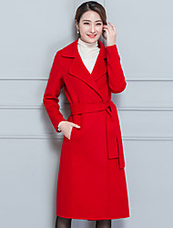 cheap -Women's Going out Street chic Winter Fall Coat,Solid Shirt Collar Long Sleeve Long Cashmere Polyester