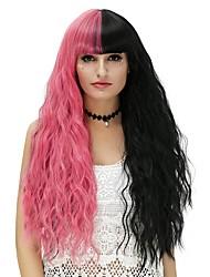 Недорогие -Парики из искусственных волос / Маскарадные парики Волнистые Искусственные волосы Черный Парик Жен. Длинные Без шапочки-основы