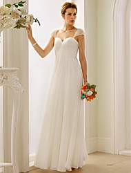 cheap -A-Line Princess Sweetheart Floor Length Chiffon Custom Wedding Dresses with Pearl Side-Draped by LAN TING BRIDE®