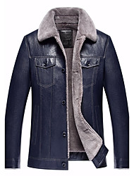 Men's Party Street chic Winter Leather Jacket,Solid Shirt Collar Long Sleeve Regular Lamb Fur Lambskin Fur Trim