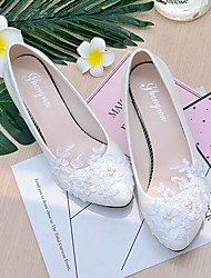 cheap -Women's Wedding Shoes Slingback Spring Fall Lace Leatherette Wedding Party & Evening Dress Applique Imitation Pearl Flower Low Heel Cone