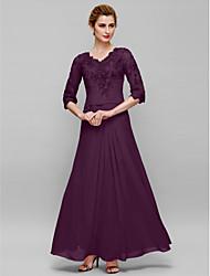 baratos -Tubinho Decote V Longo Chiffon / Renda Vestido Para Mãe dos Noivos com Apliques de LAN TING BRIDE®