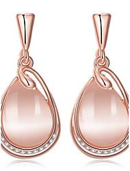 abordables -Femme Luxe Cristal Zircon Opale synthétique Zircon cubique Strass Cristal Zircon Plaqué or Plaqué Or Rose Boucles d'oreille goutte -