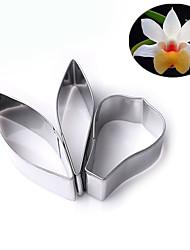L'attrezzo di decorazione della torta del fondente delle taglierine del biscotto del petalo del fiore dell'acciaio inossidabile 3pcs