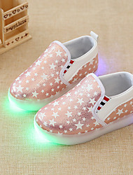 cheap -Girls' Shoes Synthetic Summer Fall Light Up Shoes Moccasin Comfort Loafers & Slip-Ons LED For Casual Party & Evening Blushing Pink Silver