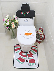 3Pcs/Set  Santa  Ornament  Snowman Toilet Seat Cover Rug Bathroom Mat Set Christmas Xmas Decoration For Home