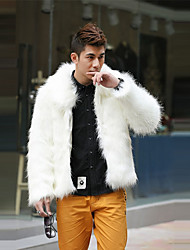Men's Plus Size Going out Casual/Daily Simple Vintage Punk & Gothic Winter Fur Coat,Solid Shirt Collar Long Sleeve Regular Faux Fur Others