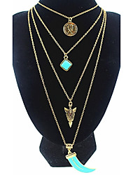 baratos -Mulheres Forma Geométrica Personalizada Boêmio Básico Multi Camadas Colares com Pendentes colares em camadas Turquesa Liga Colares com