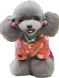 abordables -Chien Combinaison-pantalon Vêtements pour Chien Points Polka Tissu / Coton / Duvet Costume Pour les animaux domestiques Décontracté /