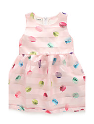 cheap -Girl's Daily Print Dress,Polyester Summer Fall Sleeveless Floral Blue Blushing Pink