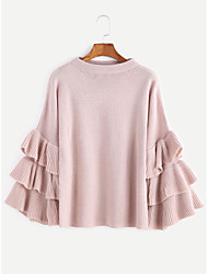 Women's Casual/Daily Street chic Short Pullover,Solid Round Neck Long Sleeves Cotton Fall Medium Stretchy