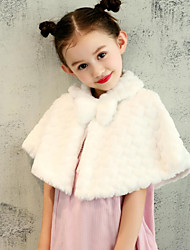 cheap -Faux Fur Wedding Party / Evening Kids' Wraps With Pattern / Print Sweetheart Capelets