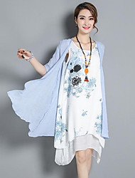 Women's Going out Loose Dress,Floral U Neck Knee-length Half Sleeves Linen Summer Low Rise Inelastic Medium