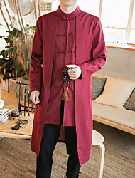 Men's Daily Plus Size Simple Vintage Casual Chinoiserie Winter Fall Trench Coat,Solid Stand Long Sleeve Long Cotton Linen