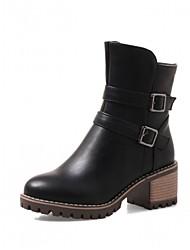 Feminino Sapatos Courino Outono Inverno Conforto Inovador Curta/Ankle Botas Salto Grosso Ponta Redonda Botas Curtas / Ankle Ziper Para