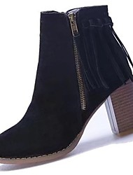 Women's Shoes Suede Fall Combat Boots Boots Chunky Heel Round Toe Tassel(s) For Casual Gray Black