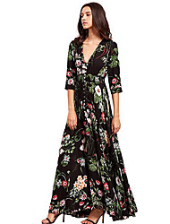 Women's Going out Cute Sexy Swing Dress,Floral V Neck Asymmetrical Half Sleeves Rayon Summer Fall Mid Rise Micro-elastic Medium