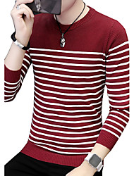 cheap -Men's Daily Plus Size Casual Boho Street chic Long Pullover,Striped Print Color Block Round Neck Long Sleeves Cotton Winter Fall Medium
