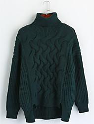 economico -Per donna Quotidiano Tinta unita Casual Pullover, A collo alto Manica lunga Inverno Autunno