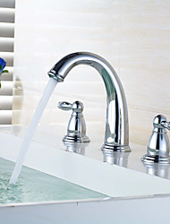 Widespread Widespread Brass Valve Two Handles Three Holes Chrome , Bathroom Sink Faucet