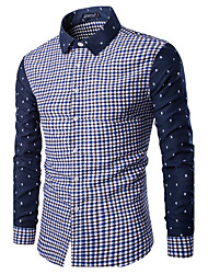 Men's Going out Casual/Daily Sexy Vintage Simple Spring Fall Shirt,Solid Check Classic Collar Long Sleeves Cotton Medium